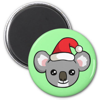 Cute Christmas Koala in Santa Hat Drawing Magnet