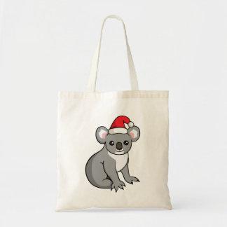 Cute Christmas Koala in Santa Hat Drawing Tote Bag