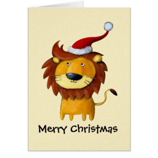 Cute Christmas Lion Greeting Card