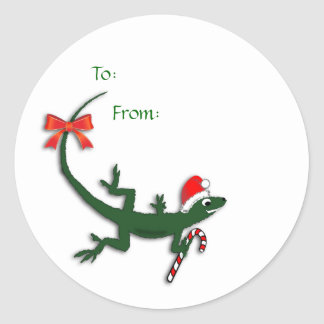 Cute Christmas Lizard Gift Label Stickers