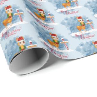 Cute Christmas Llama at North Pole Wrapping Paper