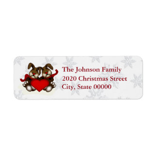 Cute Christmas Love Bunnies RA Return Address Label