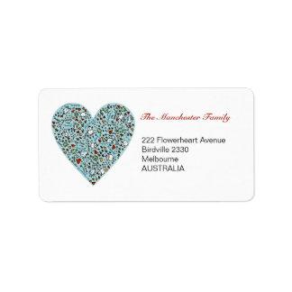 Cute Christmas Love Heart Address Labels