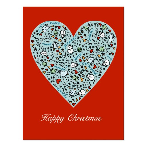 Cute Christmas Love Heart Postcard