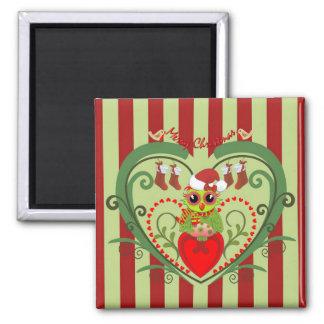 Cute Christmas Magnet w. Cartoon Owl in Heart shap