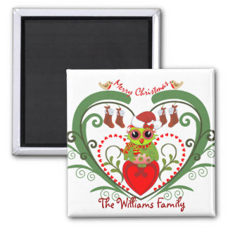 Cute Christmas Magnet with Owl and Text