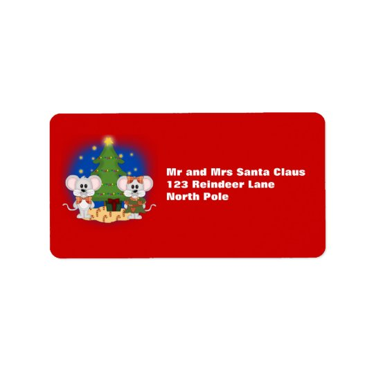 Cute Christmas Mice with Customisable Text Address Label