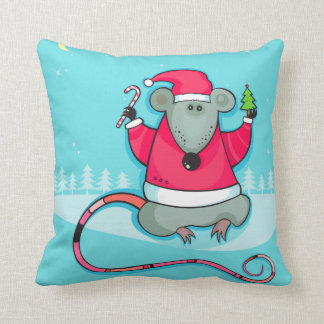 Cute Christmas Mouse Wearing Santa Outfit Cushion