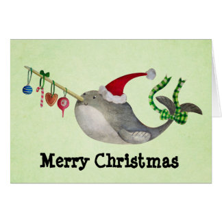 Cute Christmas Narwhal Card