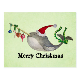 Cute Christmas Narwhal Postcard