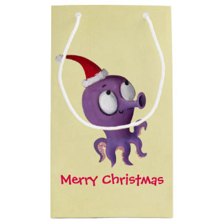 Cute Christmas Octopus Small Gift Bag