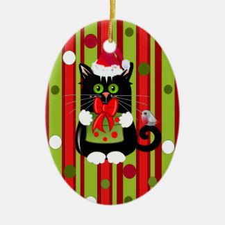 Cute Christmas ornament with cat and robin