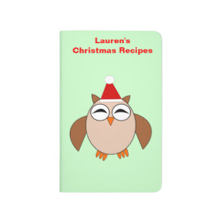 Cute Christmas Owl Custom Recipe Journal