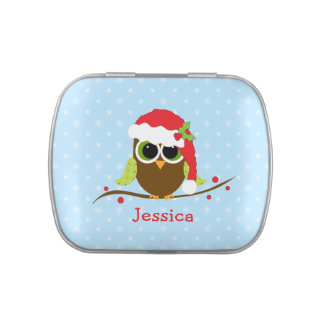 Cute Christmas Owl Personalized Candy Tins