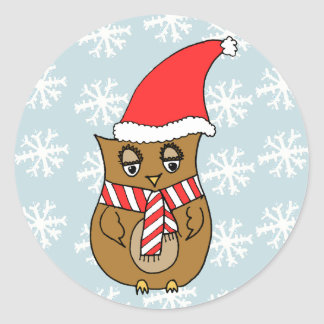Cute Christmas Owl Round Sticker