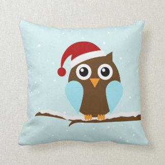 Cute Christmas Owl Throw Pillow