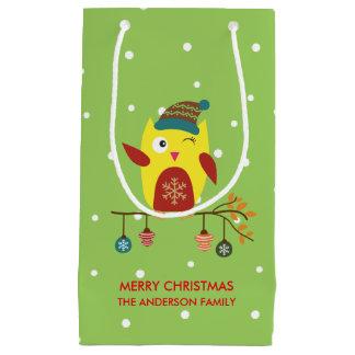 Cute Christmas Owl Winter Illustration Small Gift Bag