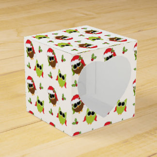 Cute Christmas Owls and Holly Pattern Favor Boxes