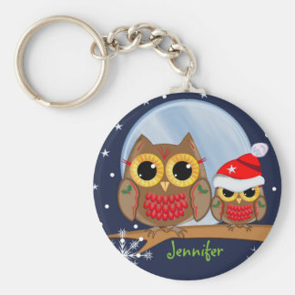 Cute Christmas Owls & Custom Name Basic Round Button Key Ring