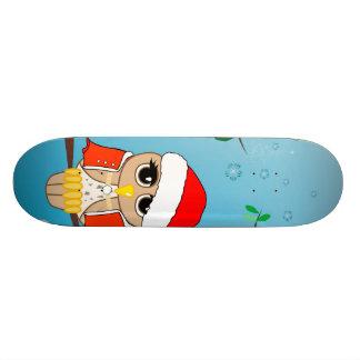 Cute christmas owls custom skate board