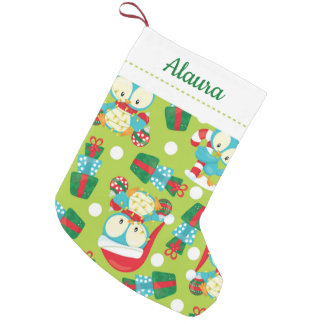 Cute Christmas Owls Small Christmas Stocking
