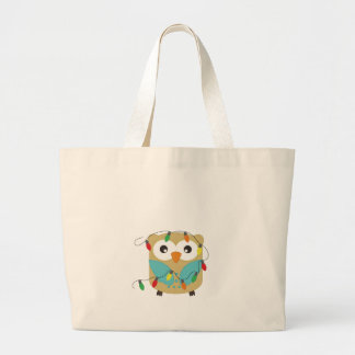 Cute Christmas Owls with Decorations Tote Bag