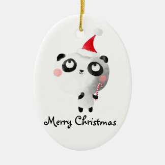 Cute Christmas Panda Bear Christmas Ornament