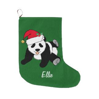 Cute Christmas Panda Bear Large Christmas Stocking