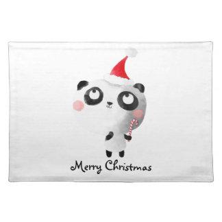 Cute Christmas Panda Bear Placemat