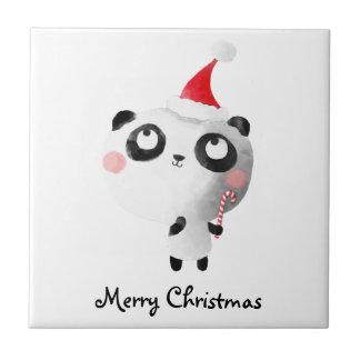 Cute Christmas Panda Bear Small Square Tile