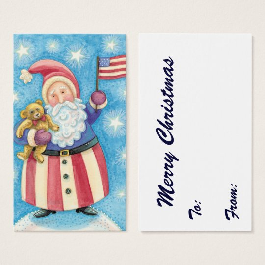 Cute Christmas, Patriotic Santa Claus with Flag Business Card