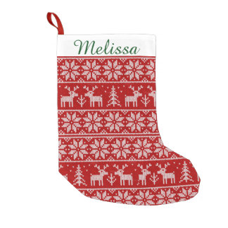 Cute Christmas Pattern Monogram Small Christmas Stocking