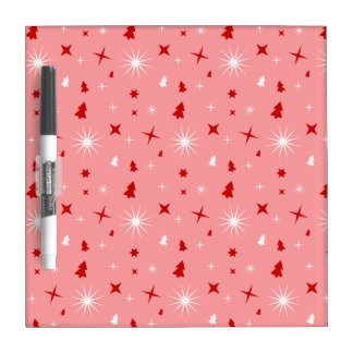 Cute Christmas Pattern Pink White Red Trees Stars Dry Erase Board