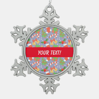 Cute Christmas Pattern Snowflake Pewter Christmas Ornament