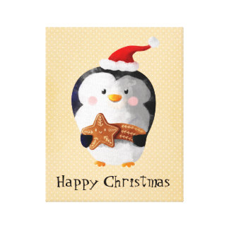Cute Christmas Penguin Stretched Canvas Prints