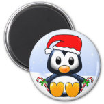 Cute Christmas Penguin Cartoon 6 Cm Round Magnet