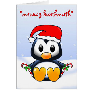 Cute Christmas Penguin Cartoon Greeting Card