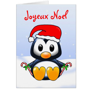 Cute Christmas Penguin Cartoon in French Language Card