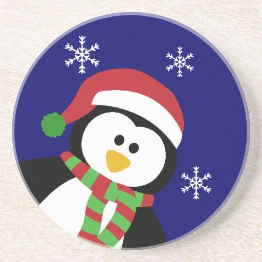 Cute Christmas Penguin Coaster Zazzle