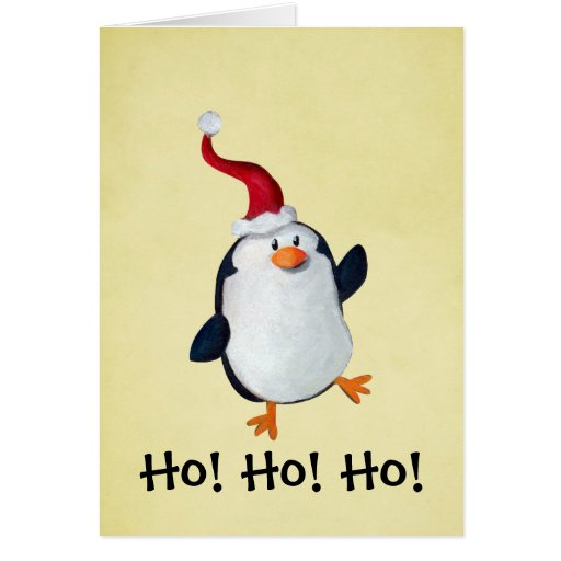 Cute christmas penguin greeting card zazzle for Penguin christmas cards homemade