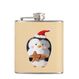 Cute Christmas Penguin Hip Flask