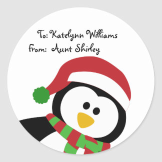 Cute Christmas Penguin Personalised Gift Tags Round Sticker