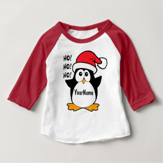 Cute Christmas Penguin Personalize Baby T-Shirt