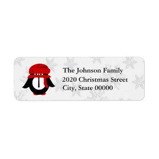 Cute Christmas Penguin RA Return Address Label