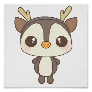 cute christmas penguin reindeer character poster