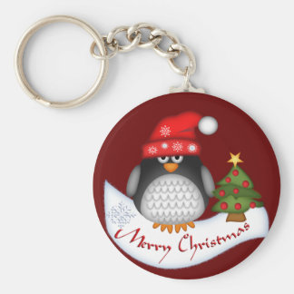 Cute Christmas Penguin with Text Keychain
