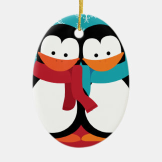 Cute Christmas Penguins Christmas Ornament