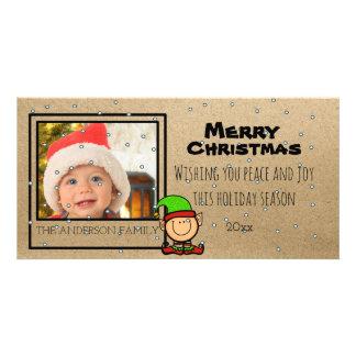 Cute Christmas photo card with elf
