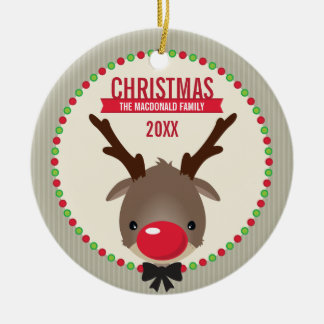CUTE CHRISTMAS PHOTO ORNAMENT ::  reindeer rudolf
