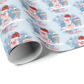 Cute Christmas Pig at North Pole Wrapping Paper